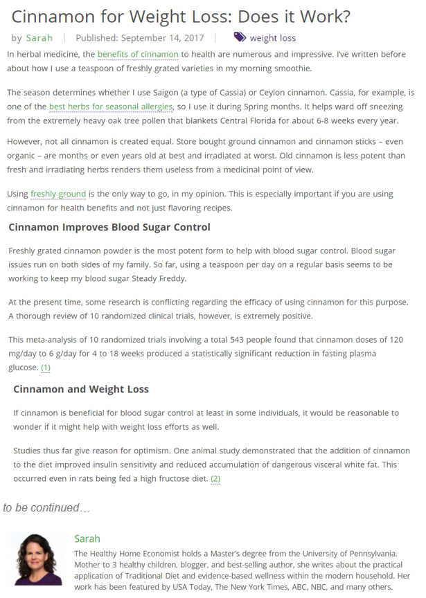 Extract of the webpage Cinnamon for weight loss: does it work? written by Sarah